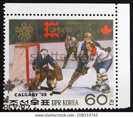 KOREA- CIRCA 1987: A stamp printed in Korea shows Hockey, circa 1987