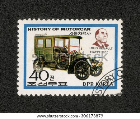 "KOREA - CIRCA 1986: stamp from the Korea shows a series of images "" history of cars"", circa 1986"