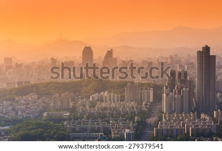 Korea city Skyline and N Seoul Tower in Seoul in Misty day, South Korea
