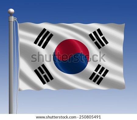 Korea flag in pole on blue sky background