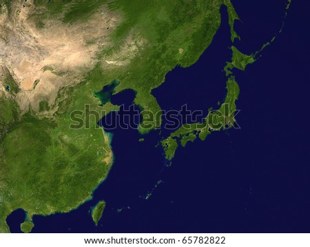 Korea, Japan, China and Taiwan from space - 3D render - stock photo