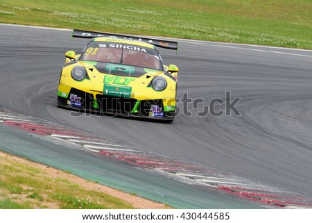 KOREA,MAY 13-15 : O'Young/Naiyanobh (y) with Porsche GT3-R takes to the tracks of KOREA INTERNATIONAL CIRCUIT at the GT Asia Series 2016 race on May 13-15, 2016 in South Korea.