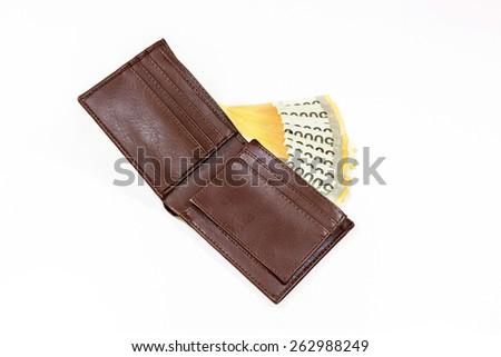 korea money in brown bag - stock photo