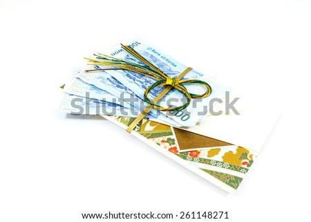 Korea money wit Gift envelope on white background - stock photo
