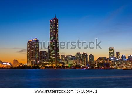 Korea,Seoul at night, South Korea city skyline - stock photo