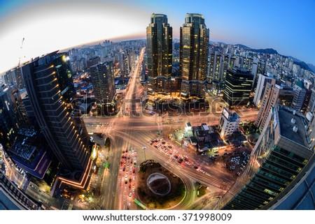 Korea,Seoul city skyline at night - stock photo