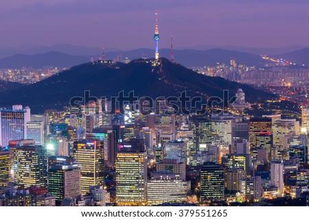 Korea,Seoul City Skyline, The best view of South Korea. - stock photo
