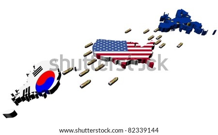 Korea USA EU trade with container ships illustration