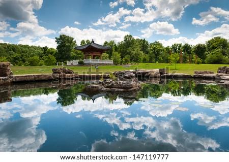 Ordinaire Korean Bell Tower Koi Pond At Meadowlark Botanical Gardens In Northern  Virginia