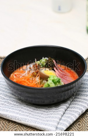 korean bibimbap noodles taken in studio