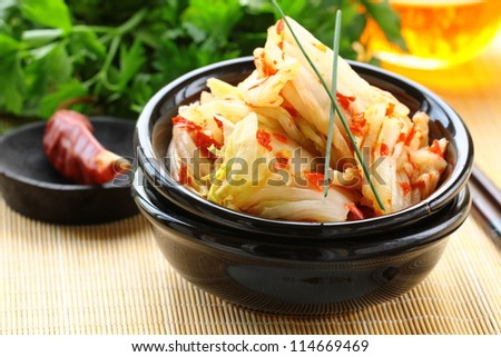 Korean cabbage kimchi with hot pepper - stock photo
