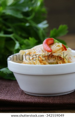 Korean cabbage kimchi with hot red pepper - stock photo
