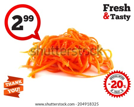 Korean carrot. Isolated on white background (spicy food). - stock photo