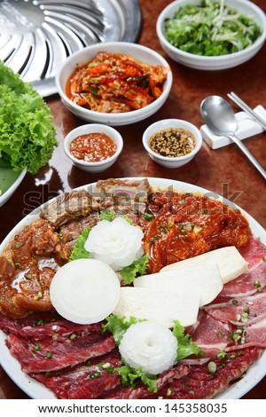 Korean cuisine : barbecue grill set - stock photo