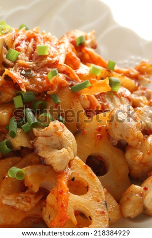 Korean cuisine, Lotus root and chicken stir fried with kimchi