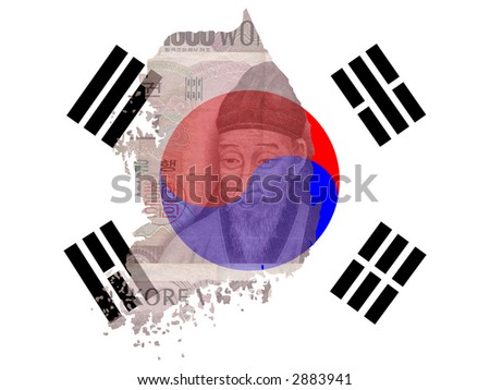 Korean currency with map and flag of Korea - stock photo