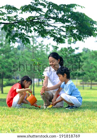 Korean family gardening