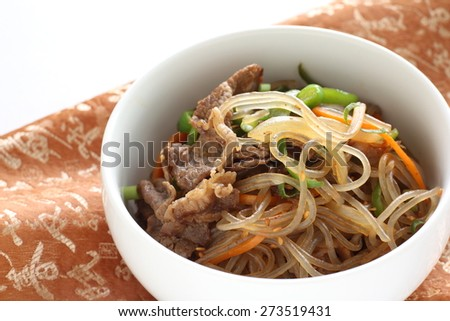 Korean food, carrot and cellophane stir fried  - stock photo