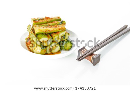 Korean food :  Cucumber Kimchi - stock photo