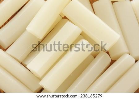 Korean food ingredient, sticky rice cake stick Garaeddeok - stock photo