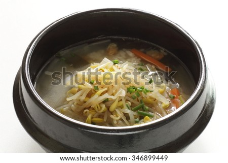 Korean food, rice in Soy sprout soup