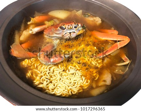 korean king crab stew with ramen