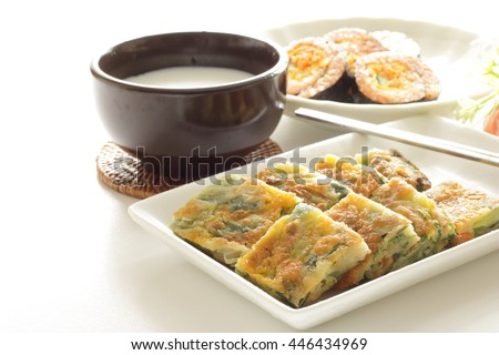 korean pan cake Jijim and Makgeolli - stock photo