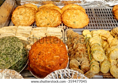 Korean pancake sold on market stall