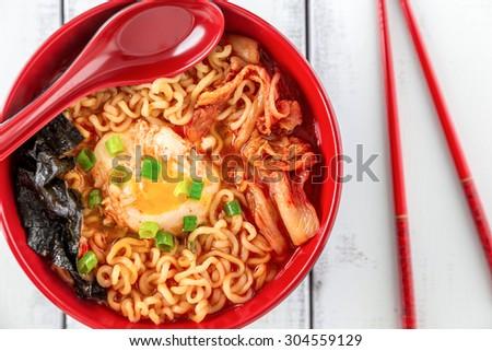 Korean Ramen with Kimchi and seaweed - stock photo