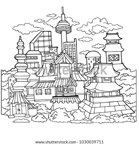 Korean Town Detailed Coloring Page Stock Illustration 1030039711