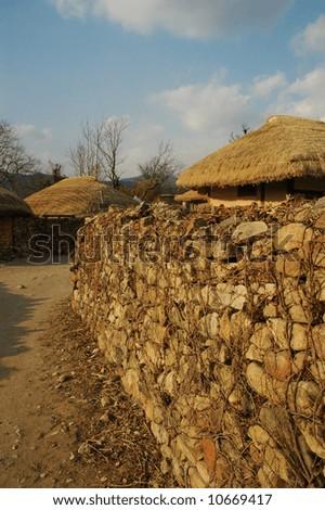 korean traditional folk village - stock photo