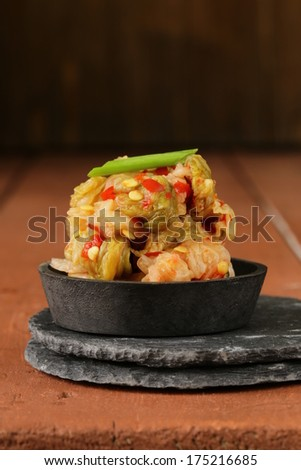 Korean traditional salad cabbage kimchi with hot pepper - stock photo