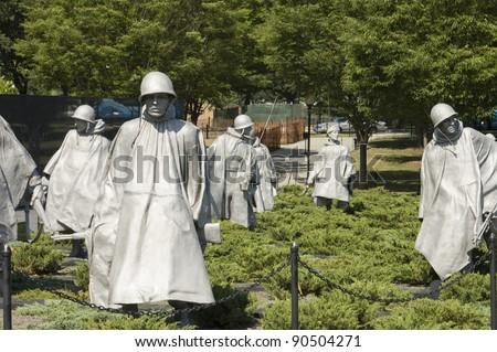 Korean War  Memorial Nineteen  statues  sculpted by Frank Gaylord of Barre, Arlington cemetery, Washington, DC - stock photo