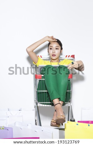 Korean woman with shopping bags