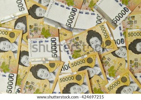 Korean won bills - stock photo
