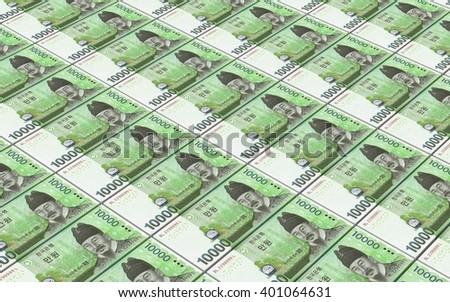 Korean won bills stacks background. 3D illustration - stock photo