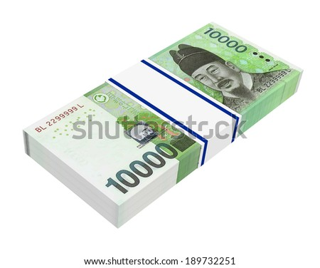 Korean won money isolated on white background. Computer generated 3D photo rendering.