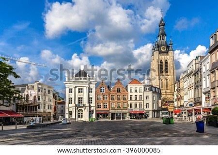 KORTRIJK, BELGIUM - MAY 12, 2014: Urban landscape of Medieval City Kortrijk. Kortrijk (Courtrai, Courtray) - Belgian city located in Flemish province West Flanders. - stock photo