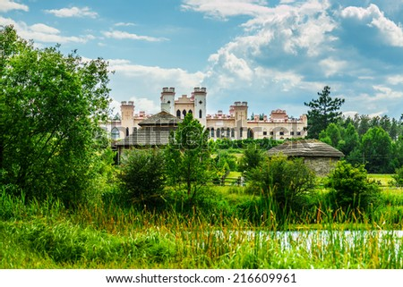 Kosava castle is ruined castellated palace in Gothic Revival style located in Kosava, Belarus. It was built in 1830 by Graf Wandalin Puslowski close to palace where Andrzej Tadeusz Bonawentura - stock photo