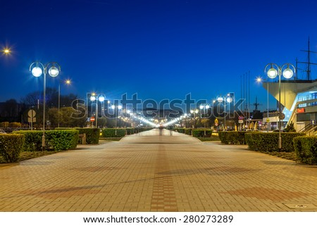 Kosciuszko Square at night  - The famous promenade in Gdynia, Poland. - stock photo