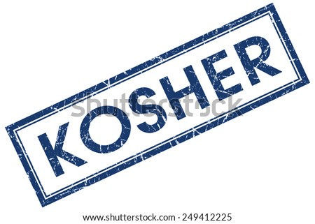 kosher blue square stamp isolated on white background - stock photo
