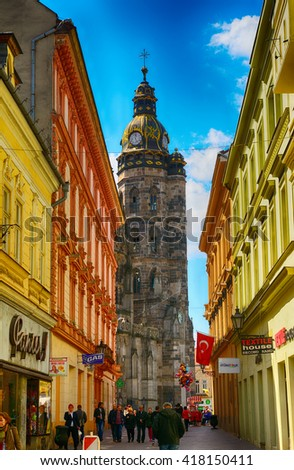 KOSICE - APRIL 28 : St. Elizabeth Cathedral at 28 April, 2016 in Kosice, Slovakia. St. Elizabeth is the main cathedral of Eastern Slovakia. - stock photo