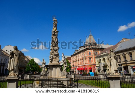 KOSICE - APRIL 28 : Statue of Immaculata at 28 April, 2016 in Kosice, Slovakia. The Immacualata means Virgin Mary, who stands on the top to protect the medieval city from pests. - stock photo
