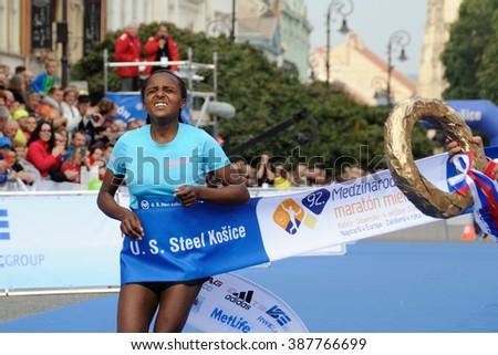 KOSICE, SLOVAKIA - OCTOBER 6, 2015: Hulu Helka wins in the International Peace Marathon, October 6, 2015 in Kosice, Slovakia. - stock photo