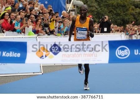 KOSICE, SLOVAKIA - OCTOBER 6, 2015: Samuel Kosgei wins in the International Peace Marathon, October 6, 2015 in Kosice, Slovakia. - stock photo