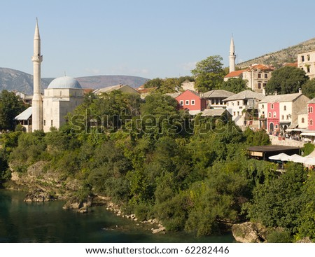 Koski Mehmed Pasa Mosque and Colorful Shops in Historic Old Town of Mostar, Bosnia and Herzegovina