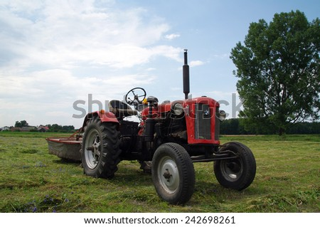 KOSMIDRY, POLAND - July 01, 2014 Old tractor in the field