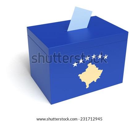 Kosovo ballot box with Kosovo Flag. Isolated on white background. - stock photo