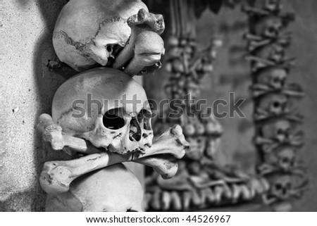 Kostnice - humam skulls and bones, Kutna hora, Czech republic - stock photo