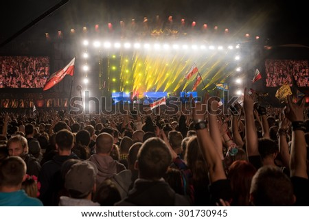 Kostrzyn Nad Odra, Poland. 30th JULY, 2015. Concert band Within Temptation 21 Festival Przystanek Woodstock - it is the biggest open music festival in Europe.  - stock photo